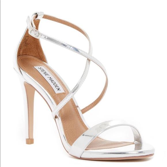 e1e0521cbea NEW Steven madden floriaa heel sandal silver 9.5